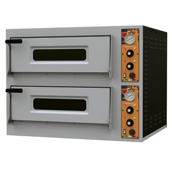 Elektro-Pizzaofen für 4+4 (8) Pizzen ø32 cm, mechanische Bedienung